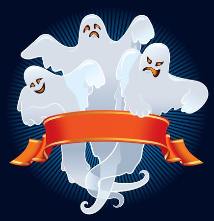 Equipo de Halloween de miedo fantasmas con banner rojo  Ilustración de vector