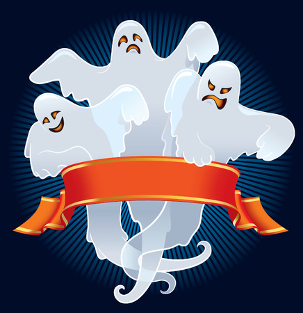 Halloween team of scary ghosts with red banner