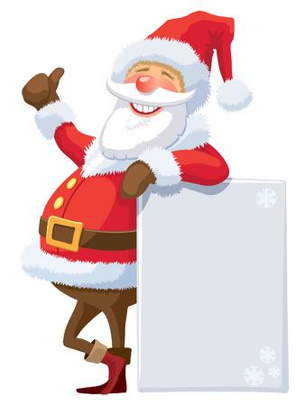 Der Nikolaus mit leeren Plakat auf einem weißen Hintergrund.  Standard-Bild - 8042147