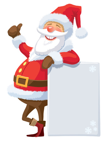 Santa Claus with blank poster on a white background.