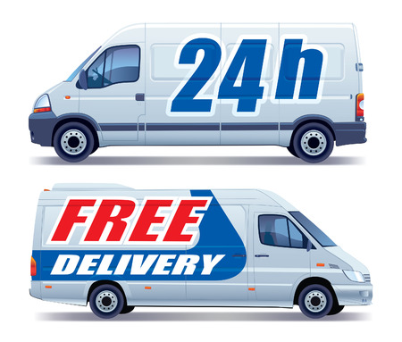 White commercial vehicle - delivery van - free delivery Vectores