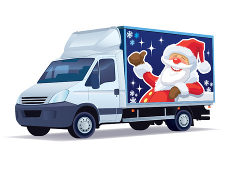Christmas commercial vehicle - delivery truck with Santa Claus advertise. Vectores