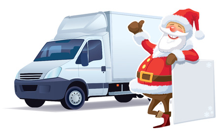 Santa Claus christmas advertising and delivery truck in the background.