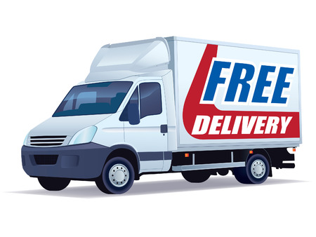 White commercial vehicle - delivery truck with a sign free delivery Vector Illustration