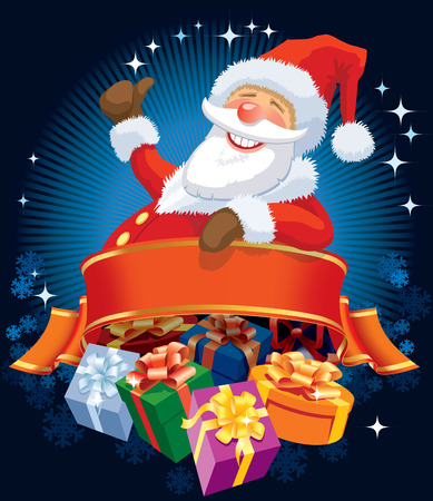 Happy Santa Claus with blank banner and christmas gifts. Vectores