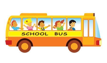 Gruppo di alunni di scuola elementare in un scuola bus