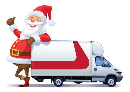 Santa Claus is advertising with christmas delivery truck Vectores