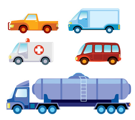 Set of various funny toy cars -   illustration