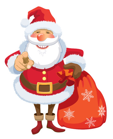 Smiling Santa Claus pointing at you, white background.