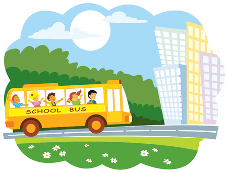 School bus with a group of school pupils going to the town Vectores
