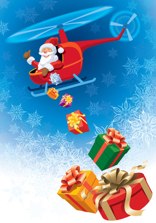 Happy Santa Claus flying in helicopter with christmas gifts.