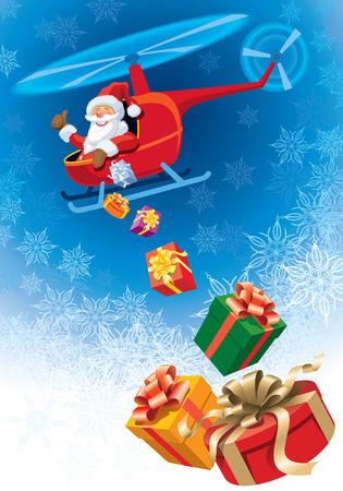Happy Santa Claus vliegen in een helikopter met giften van Kerst mis. Vector Illustratie