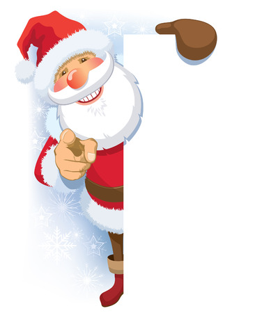 Smiling Santa Claus pointing at you and blank poster.