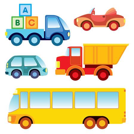 Reeks diverse grappige stuk speelgoed auto's - illustratie