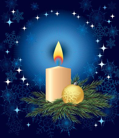 Bola de vela y el árbol de Navidad en una rama de pino  Ilustración de vector
