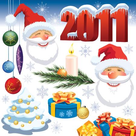 Bunte Sammlung von Christmas dekoration Design-Elemente Standard-Bild - 8189276