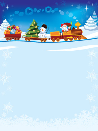 Santa Claus in a toy train with gifts, snowman and christmas tree. Vectores