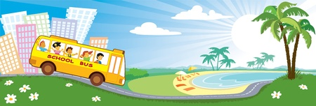 vacation starting, group of children are going to the empty beaches Vectores