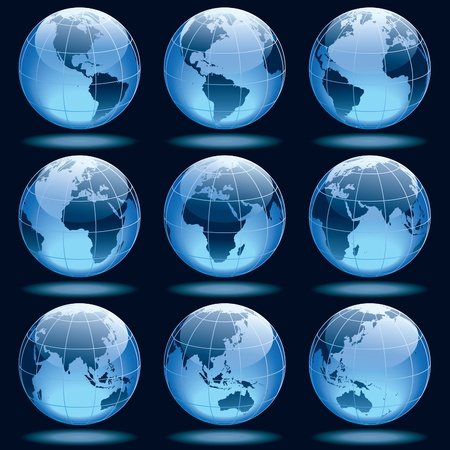 Set of nine globes showing earth with all continents.  Vectores