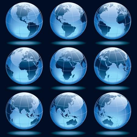 Ensemble de neuf globes montrant la terre avec tous les continents.