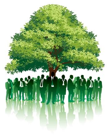 Geschäftsleute stehen unter einem großen grünen Baum.  Standard-Bild - 9930723
