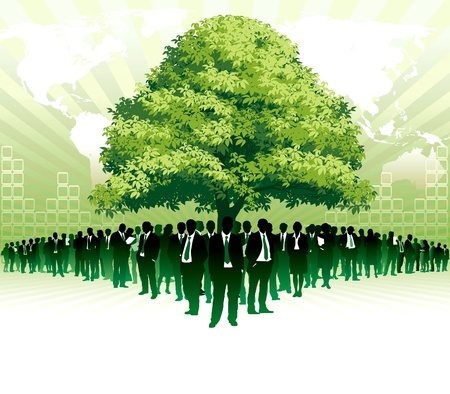 Businesspeople are standing under a big green tree in front of large world map