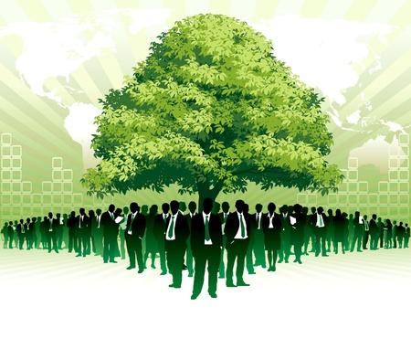 Ondernemers staan onder een grote groene boom voor grote wereldkaart
