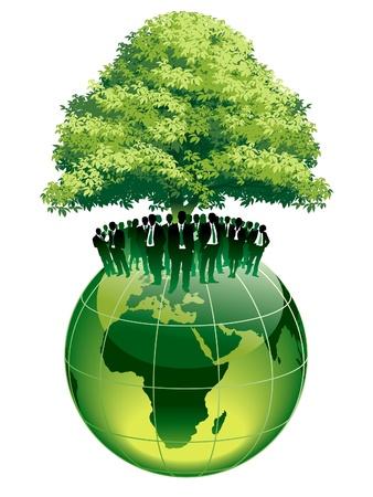 기업인 큰 녹색 나무 아래 큰 세계 글로브에 서있다