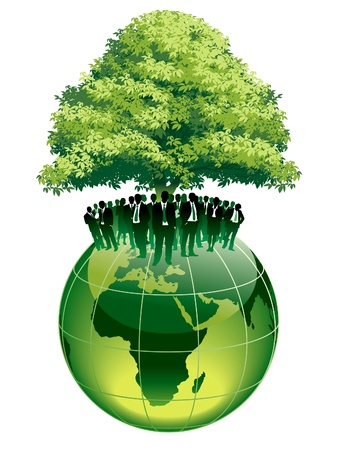Businesspeople are standing on a large world globe, under a big green tree