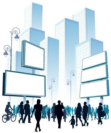 Menigte van mensen lopen op een straat.  Vector Illustratie