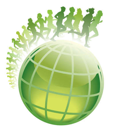 Crowd of young people running on a green world globe.  Vectores