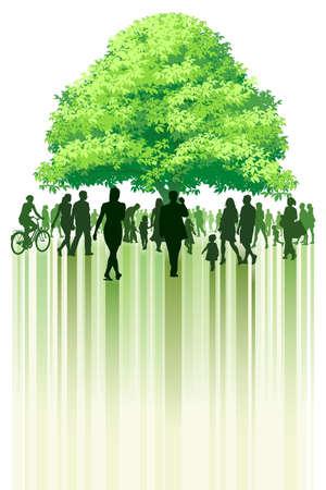 Crowd of people walking toward the tree