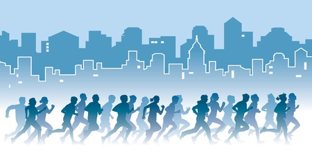 Crowd of young people running on a street  Sport vector illustration  Vectores
