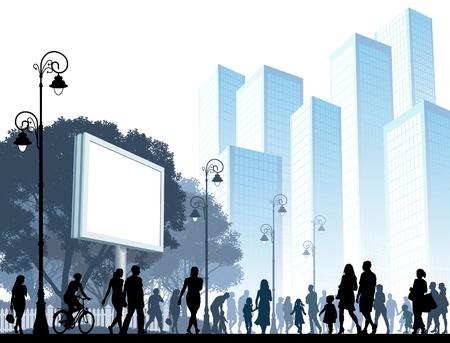 Multitud de personas caminando en una calle. Ilustración de vector