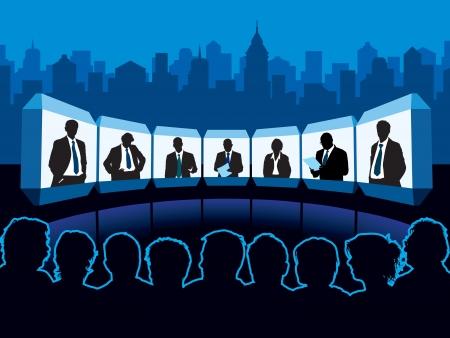 Zuschauermenge Blick auf virtuellen Konferenzraum