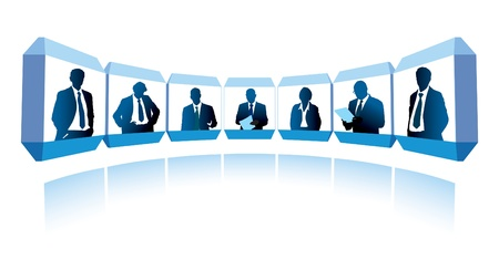 Group of successful businesspeople having a video conference  Vectores