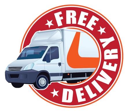 Witte vrachtwagen in een teken gratis levering