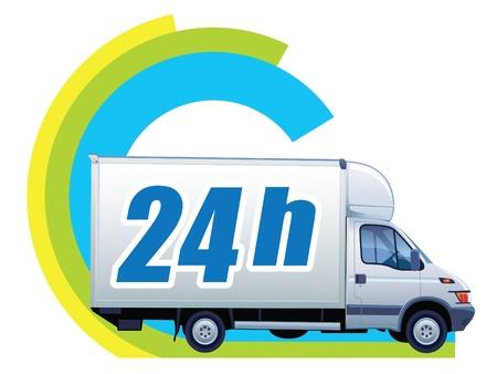 Weiß Lieferwagen in einem Zeichen Kostenlose Lieferung