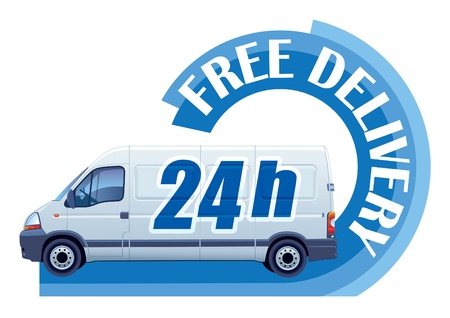 White delivery truck in a sign free delivery Vectores