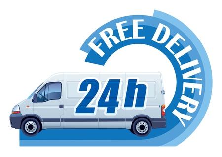 Weiß Lieferwagen in einem Zeichen Kostenlose Lieferung Standard-Bild - 15475607