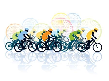 Gruppo di ciclisti in gara bicicletta. Sport illustrazione Vettoriali