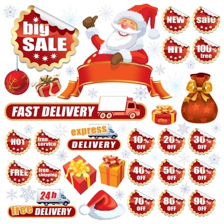 Sammlung von roten Aufklebern und Weihnachten Design-Elemente Standard-Bild - 15770400