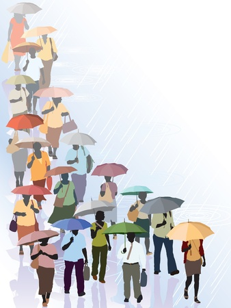 It is raining, crowd of people walking on a street Vectores