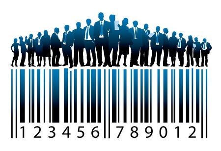 Crowd of businesspeople are standing on a large barcode Vectores