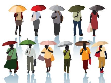 Sammlung von Silhouette - Menschen zu Fuß mit Sonnenschirmen. Standard-Bild - 15931569