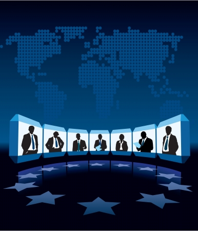 Group businesspeople having videoconference, a large world map in the background