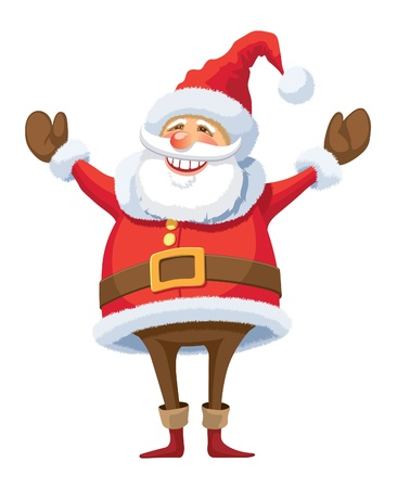 Smiling Santa Claus raising hands, white background.