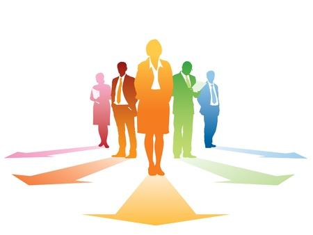Five silhouettes of successful businesspeople, everyone has own direction. Vectores
