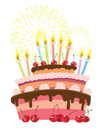 흰색 배경 위에 절연 다채로운 생일 케이크