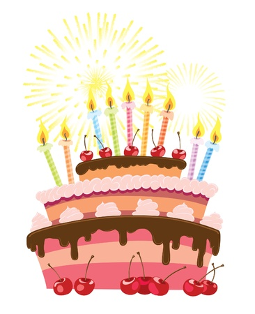 Colorful birthday cake isolated over white background Vectores